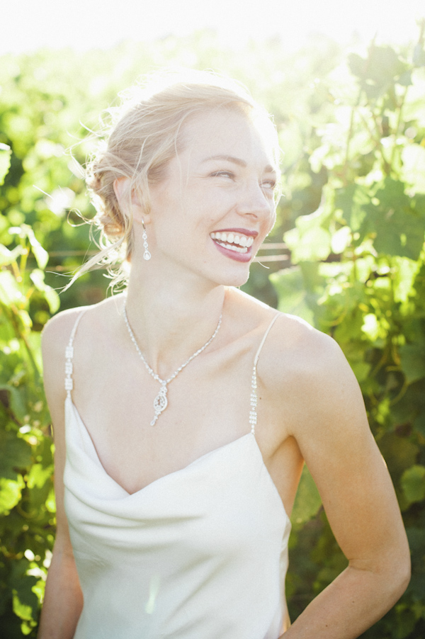 the happy bride smiling - wedding photo by top Portland, Oregon wedding photographer Aaron Courter