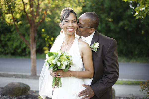 portrait of the newlywed in urban location - wedding photo by top Portland, Oregon wedding photographer Aaron Courter