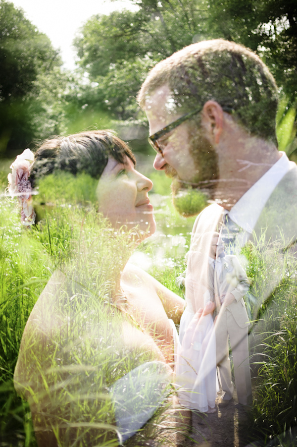 portrait of the newlywed with faded garden background-  wedding photo by top Portland, Oregon wedding photographer Aaron Courter