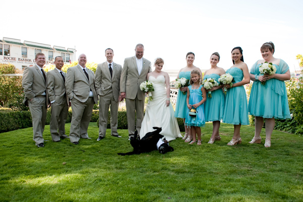 The Wedding Party Posing With Dog