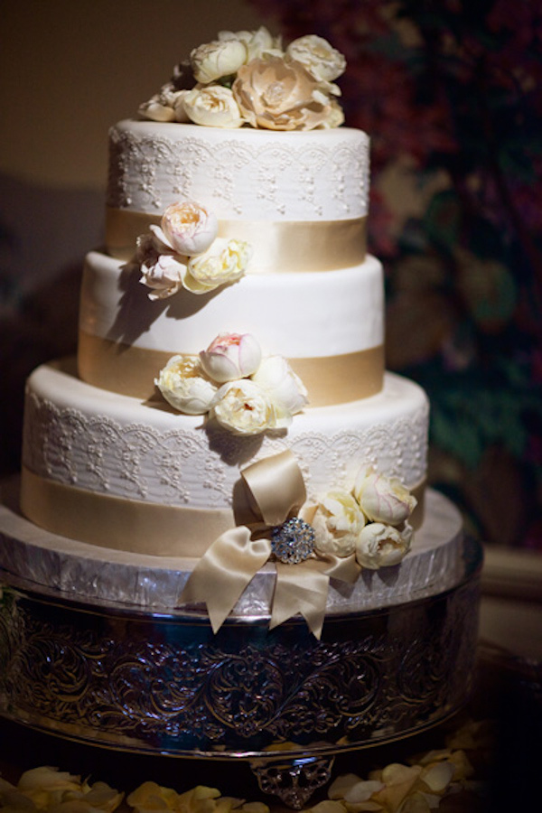 Ivory Wedding Cake With Champagne Ribbon Detail On Silver Stand Real Photo By