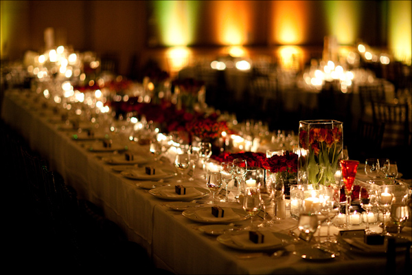 Candle Lit And Rose Wedding Reception Centerpieces Photo By Bradley Hanson