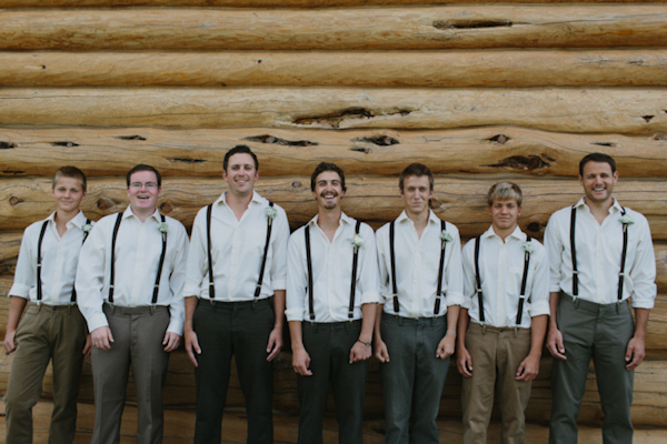 Groom and groomsmen group photo with rustic charm - wedding photo by Michigan-based wedding photographers Bryan and Mae