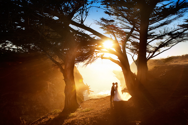 dramatic natural setting wedding photo by Catherine Hall Studios