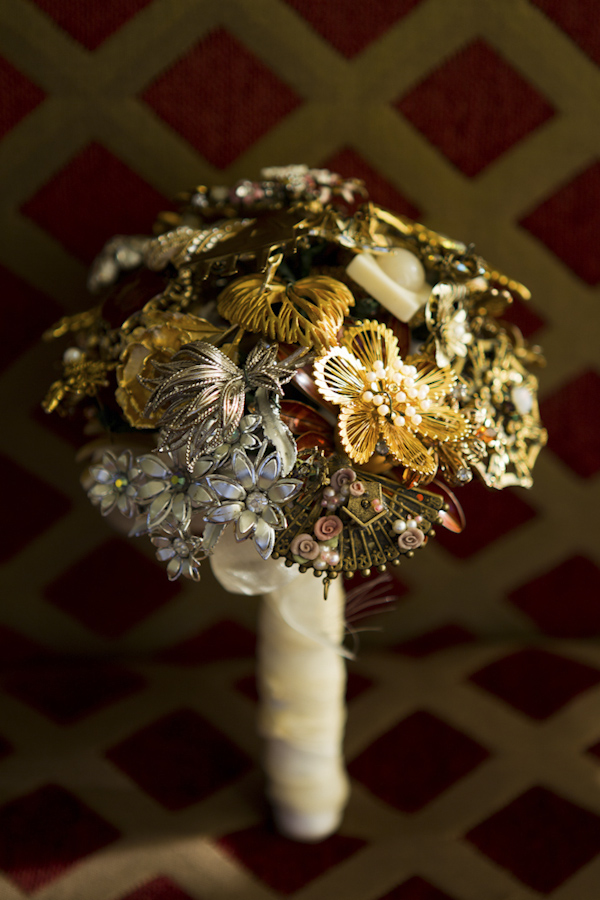 bouquet of artistic metal flowers - wedding photo by top Orange County, California wedding photographers D. Park Photography