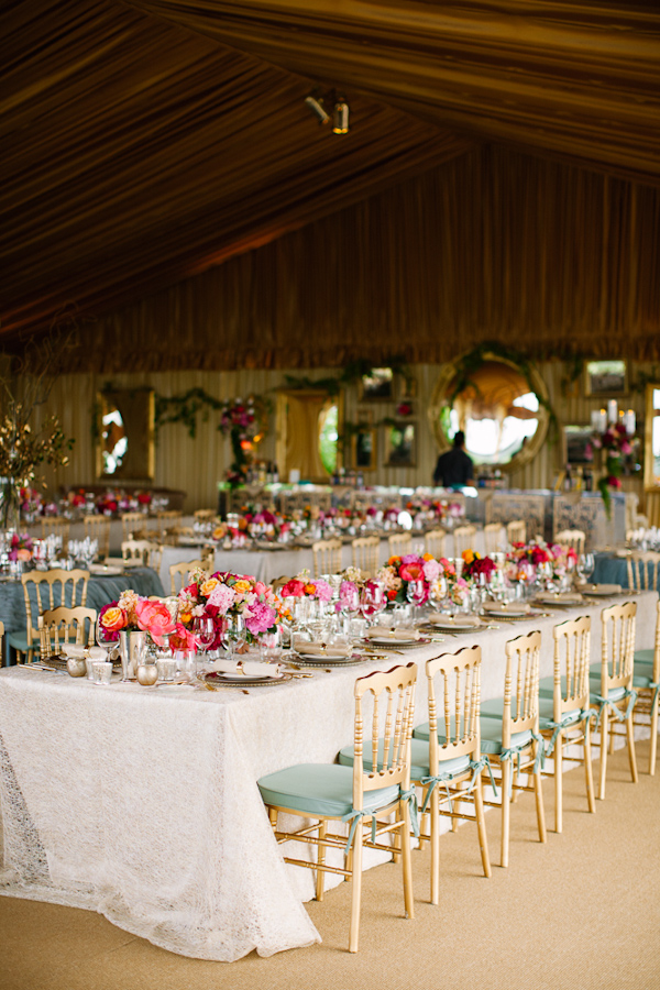 Beautiful Tented Wedding Reception With Teal Gold And Pink Color