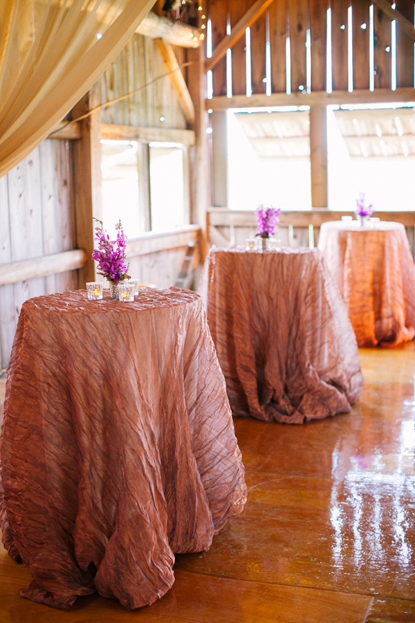 Tall tables with pale pink tablecloths and purple floral arrangements - Photo by Dan Stewart Photography
