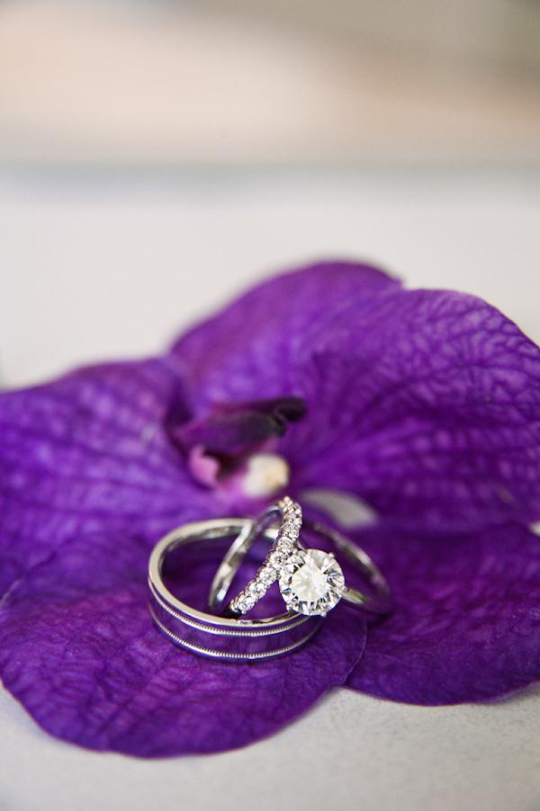 weddings rings detail on purple flower honolulu destination