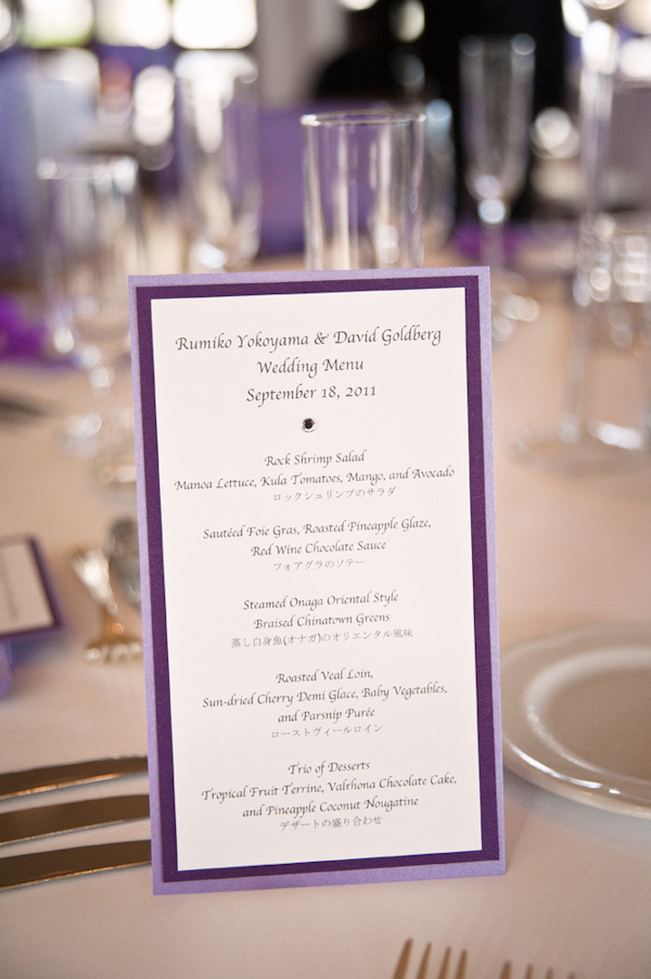 lavender and purple wedding menu on table - Honolulu destination wedding photo by top Hawaiian wedding photographer Derek Wong