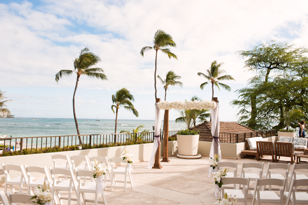 outdoor waterfront ceremony site - Honolulu destination wedding photo by top Hawaiian wedding photographer Derek Wong