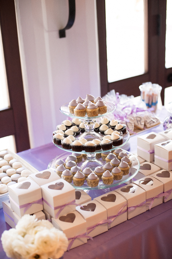 lavender cupcake and candy bar with paper heart boxes - Honolulu destination wedding photo by top Hawaiian wedding photographer Derek Wong