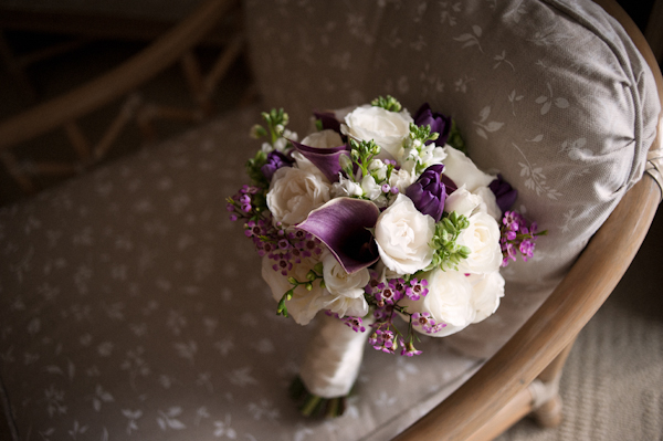 purple and white bouquet on chair - Honolulu destination wedding photo by top Hawaiian wedding photographer Derek Wong