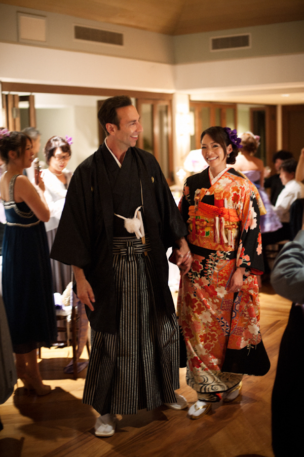 bride and groom in traditional Japanese garb - Honolulu destination wedding photo by top Hawaiian wedding photographer Derek Wong