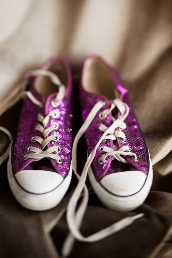 bride's sparkly purple converse - vintage LA wedding at The Smog Shoppe photo by top Orange County wedding photographer Duke Images