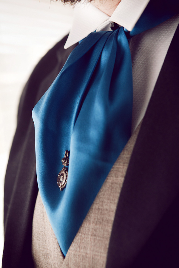 groom's blue ascot - vintage LA wedding at The Smog Shoppe photo by top Orange County wedding photographer Duke Images