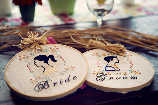 hand stitched embroidering depicting the bride and groom - vintage LA wedding at The Smog Shoppe photo by top Orange County wedding photographer Duke Images
