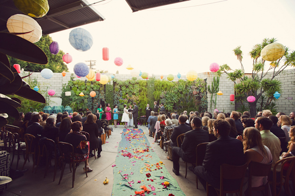 colorful outdoor ceremony with paper lanterns - vintage LA wedding at The Smog Shoppe photo by top Orange County wedding photographer Duke Images