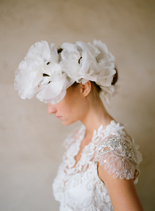 Elaborate headpiece and ornate embroidered wedding dress, photo by Elizabeth Messina Photography