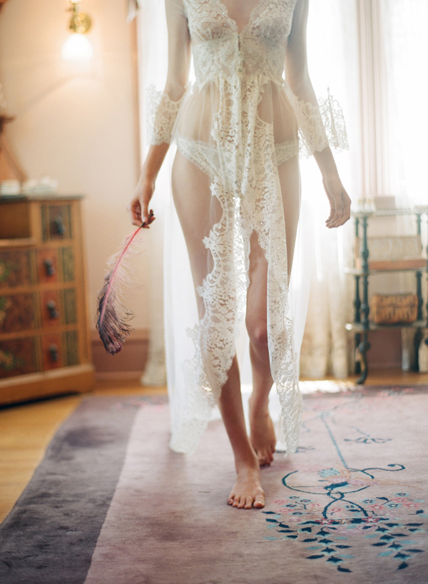 Photo of bride in lace lingerie by Elizabeth Messina Photography
