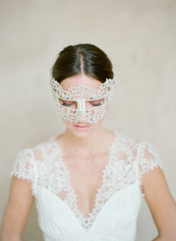 Bride with lace mask and dress, photo by Elizabeth Messina Photography