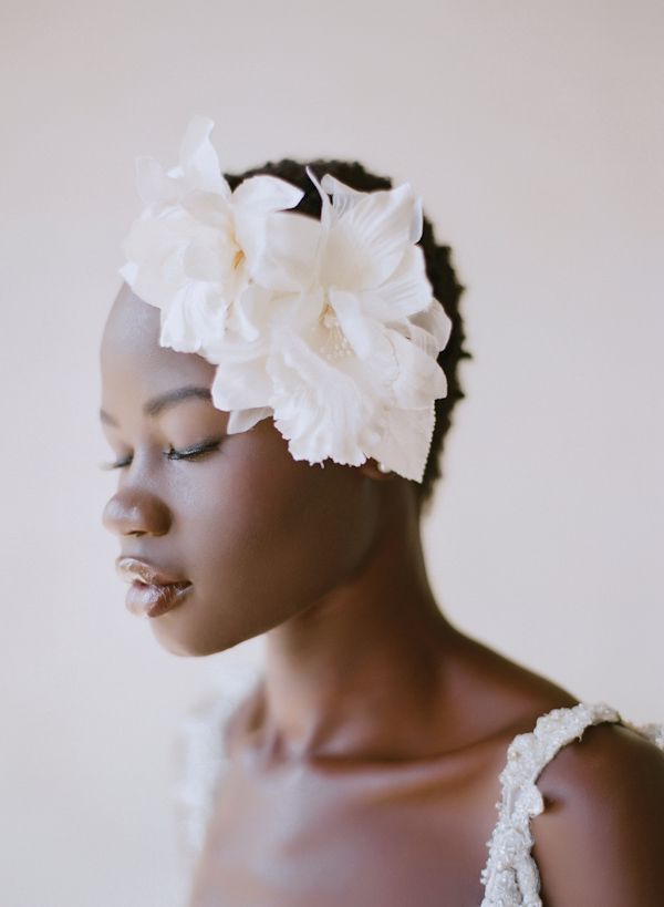 Floral headpiece for bride, photo by Elizabeth Messina Photography