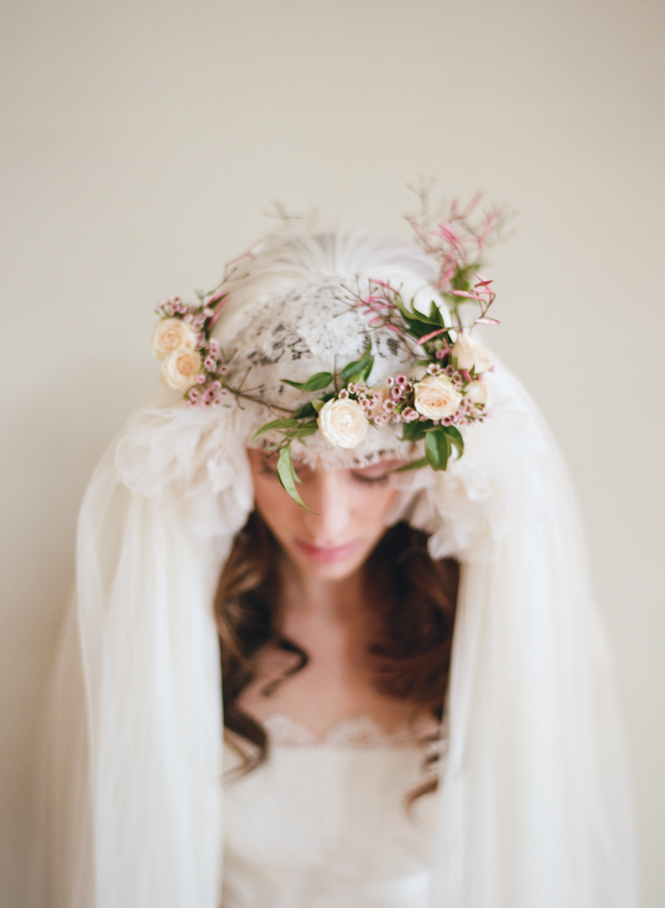 Photo with floral headpiece and cap veil by Elizabeth Messina Photography