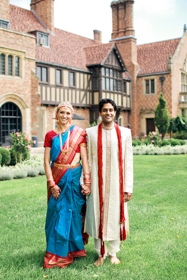the happy couple - traditional Indian wedding attire - photo by Chicago based wedding photographers Harrison Studio
