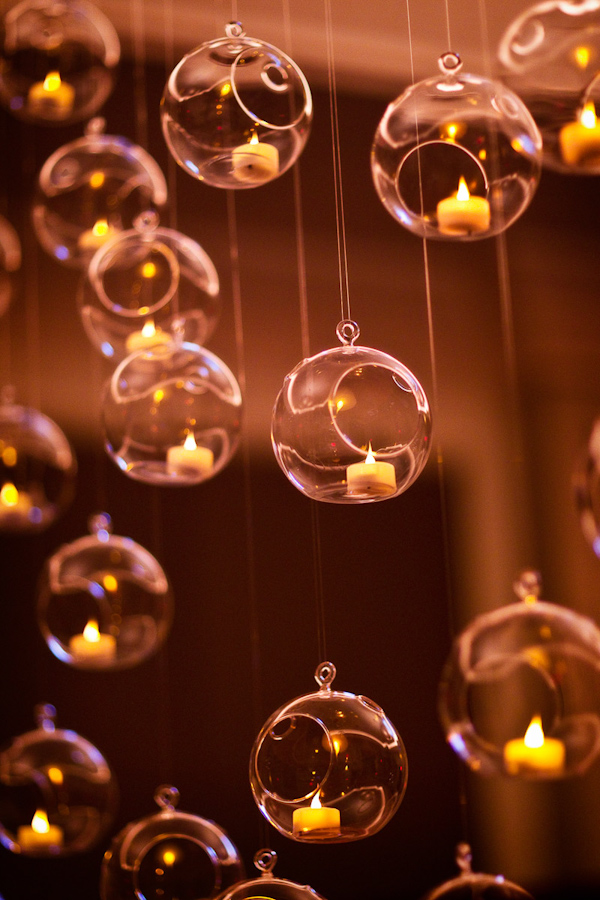 reception decor details - floating bubbles with candles - photo by Washington DC based wedding photographers Holland Photo Arts