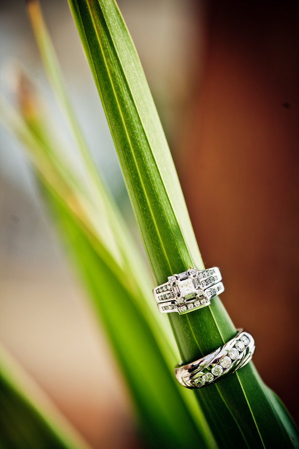 Tropical wedding photo with rings by JAGstudios