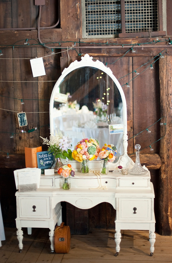 Vintage-inspired vanity at wedding- Wedding Photo by Justin and Mary Marantz