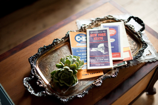 Antique tray with vintage maps - Wedding Photo by Justin and Mary Marantz