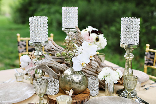 Rustic orchid, drift wood and crystal wedding centerpiece - Safari Styled Shoot Wedding Inspiration Photos by Kay English Photography