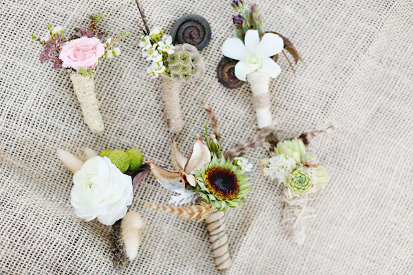 Rustic-style wedding boutonnieres - Safari Styled Shoot Wedding Inspiration Photos by Kay English Photography