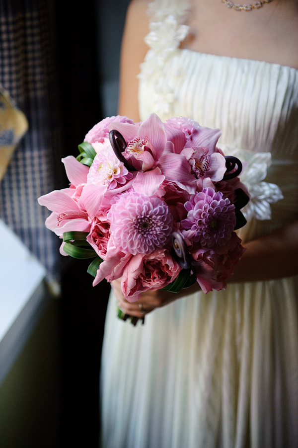 Pink orchid, peony, and chrysanthemum bouquet - wedding photo by Kenny Nakai Photography