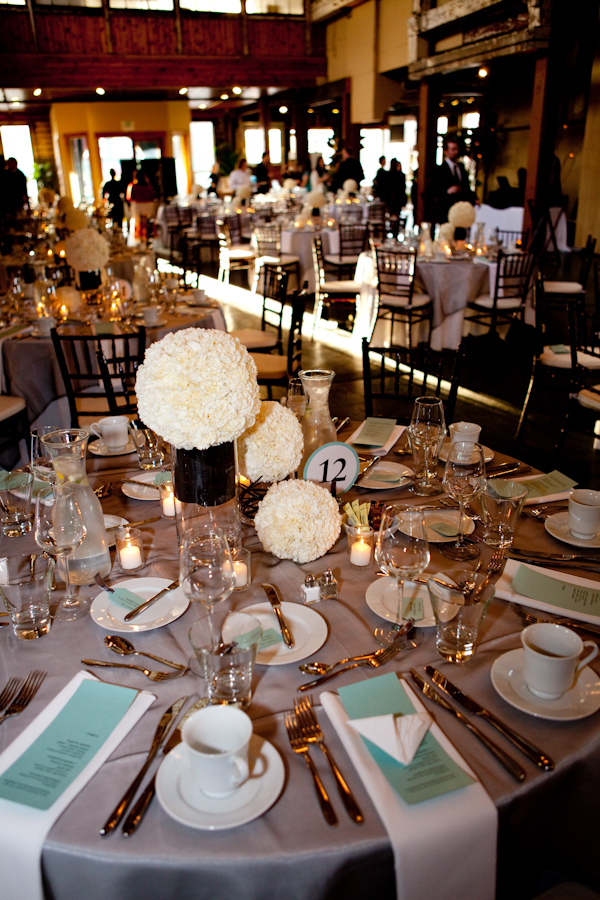 Reception Tabletop Details Ivory Floral Centerpieces Silver Table
