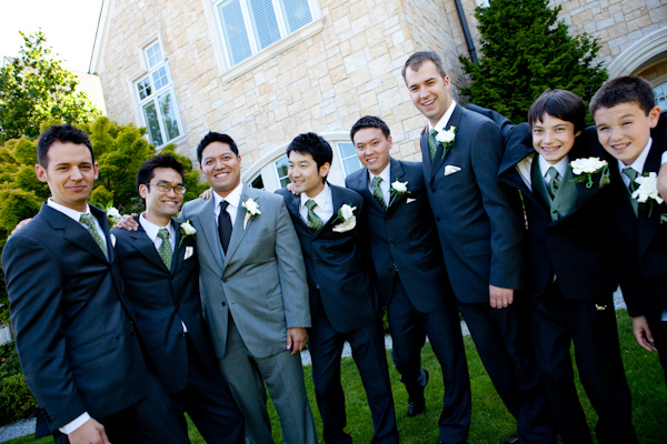 half price clear-cut texture modern design smiling groomsmen in black suits with olive green ties and ...
