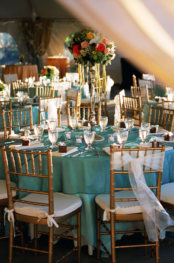 Reception Tabletop Details Aqua Colored Table Clothes Photo By