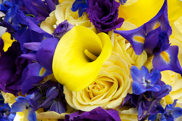 closeup detail of a yellow and purple bouquet - wedding photo by top Philadelphia based wedding photographers Langdon Photography