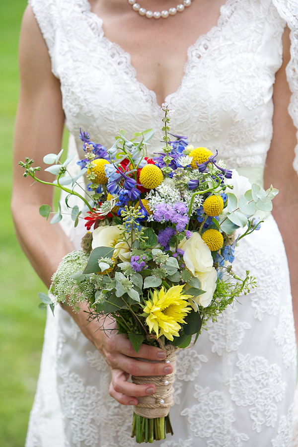 Bride holds colorful bouquet - wedding photo by top Philadelphia based wedding photographers Langdon Photography