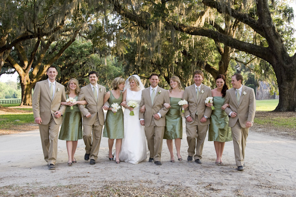 group portrait of the newlywed with bridesmaids and groomsmen - wedding photo by top South Carolina wedding photographer Leigh Webber
