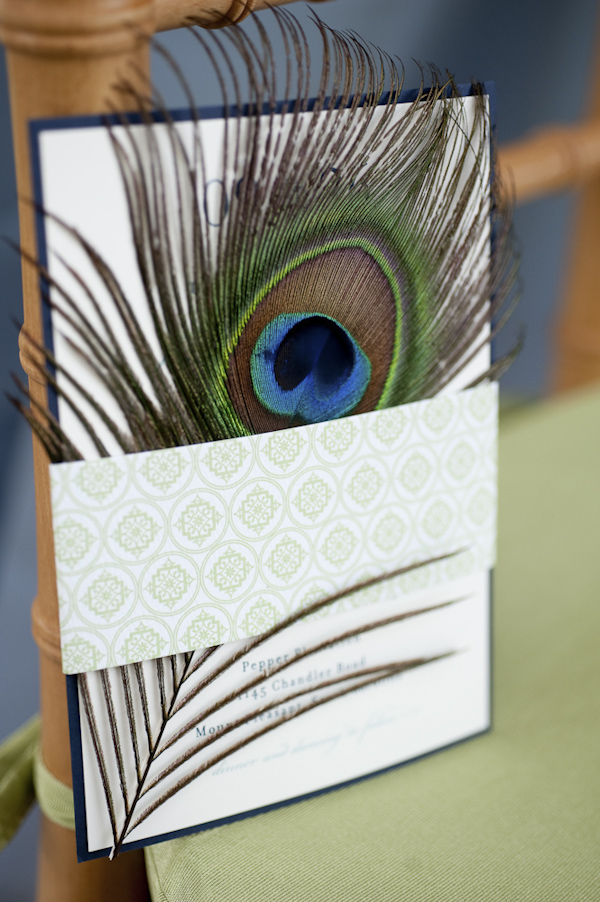 invitation with peacock feather attached - wedding photo by top South Carolina wedding photographer Leigh Webber