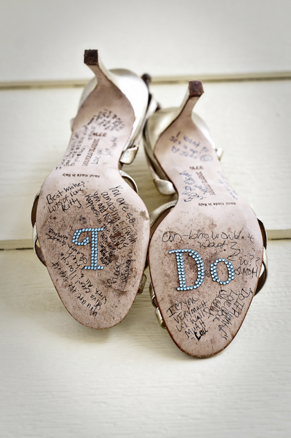 bride's shoes signed - wedding photo by top South Carolina wedding photographer Leigh Webber