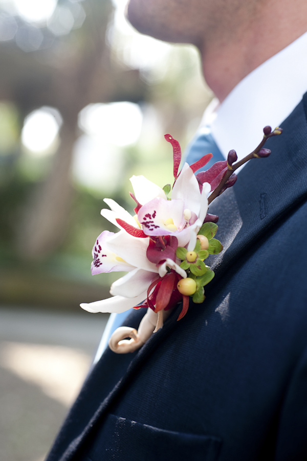 colorful boutonnier of the groom - wedding photo by top South Carolina wedding photographer Leigh Webber