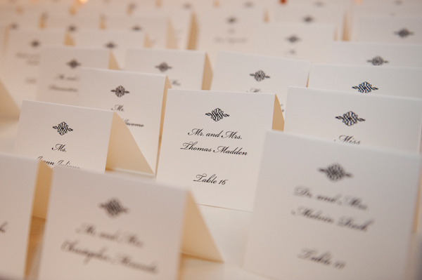 cream colored place cards with black script - photo by New York based wedding photographers Maloman Photographers