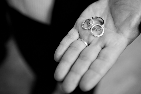 black and white photo of wedding bands - photo by New York based wedding photographers Maloman Photographers