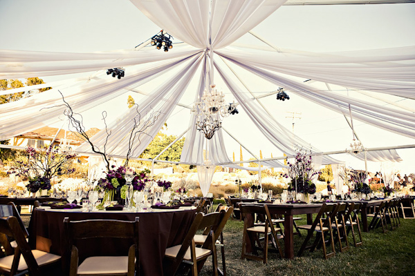 Reception Table Settings With Purple And Light Green Centerpieces White Tent Chandeliers
