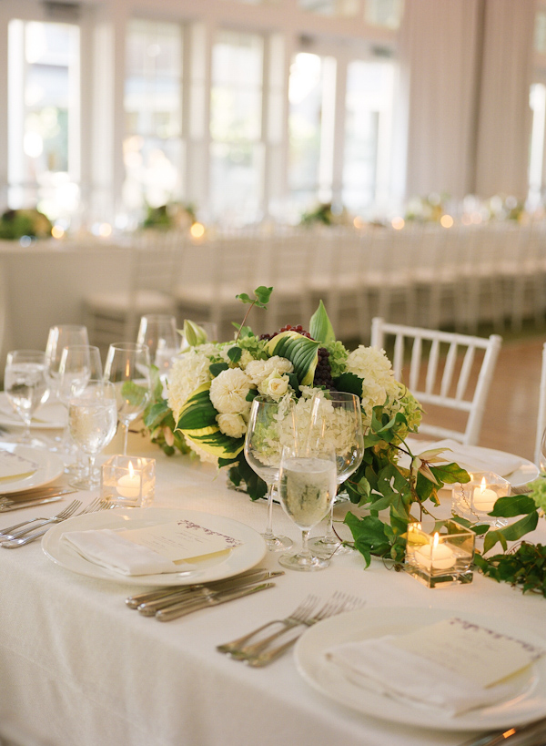 hosta centerpieces - wedding photo by Meg Smith Photography