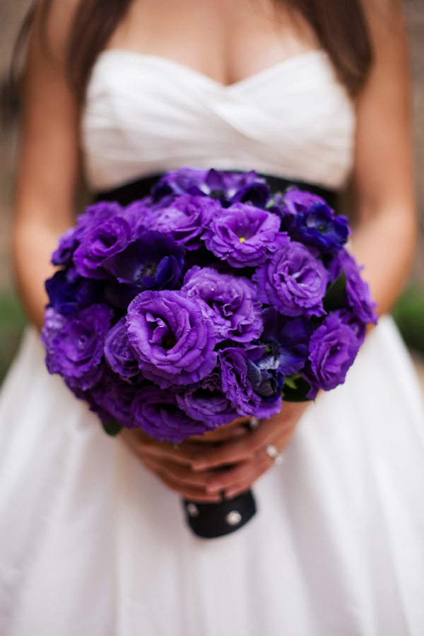 purple anemone flower wedding bouquet - photo by Melissa Jill ...