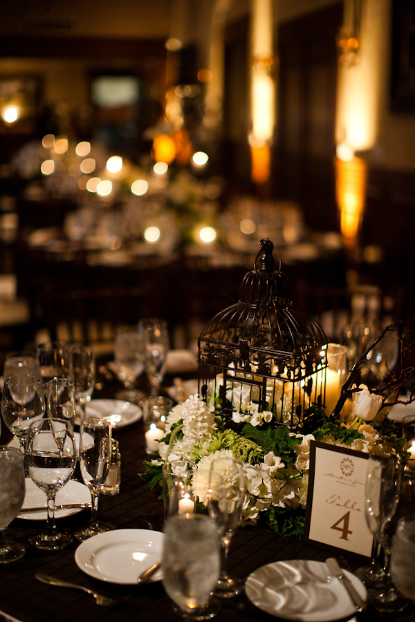 Reception Table Setting Details   Black Tablecloth, White Candles, Black  Birdcage With White And