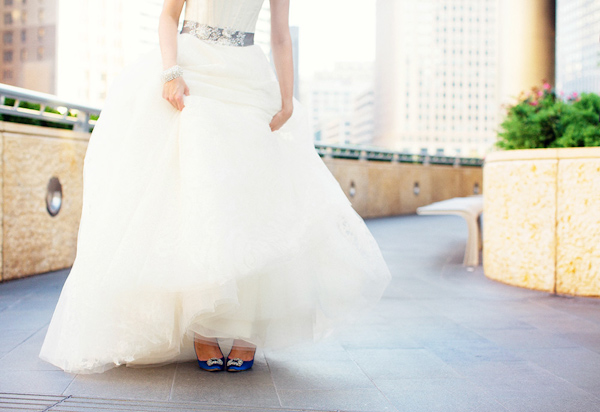 Wedding Dress With Silver Belt And Something Blue Shoes
